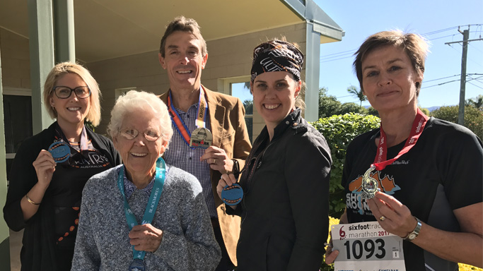 Enid Webster pictured above with her City to Surf team